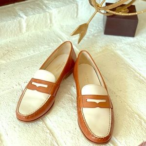 Cole Haan loafers in white and tan. Size US 8